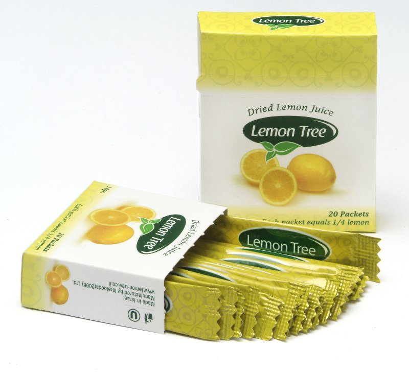 Individual packs of dried lemon juice